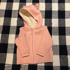 Light Pink Knit Zip Up Hoodie with Sherpa Hood